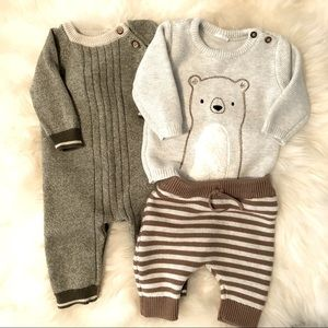 Cat & Jacket Knit baby outfits (0-3 M)
